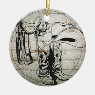 Horse Saddle Hat Western Cowboy Cowgirl Ceramic Ornament