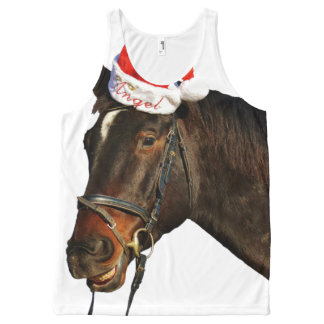 Horse santa - christmas horse - merry christmas All-Over print singlet
