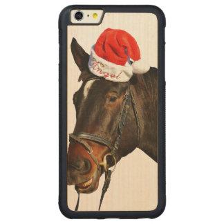 Horse santa - christmas horse - merry christmas carved maple iPhone 6 plus bumper case