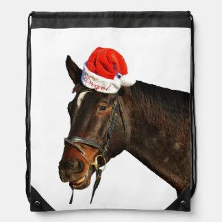 Horse santa - christmas horse - merry christmas drawstring bag