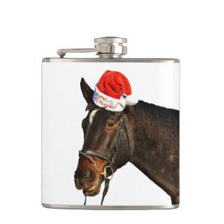Horse santa - christmas horse - merry christmas hip flask
