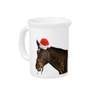 Horse santa - christmas horse - merry christmas pitcher