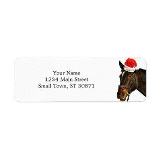 Horse santa - christmas horse - merry christmas return address label