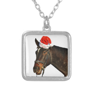 Horse santa - christmas horse - merry christmas silver plated necklace