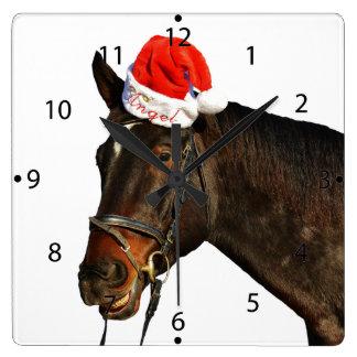 Horse santa - christmas horse - merry christmas square wall clock