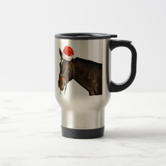 Horse santa - christmas horse - merry christmas travel mug