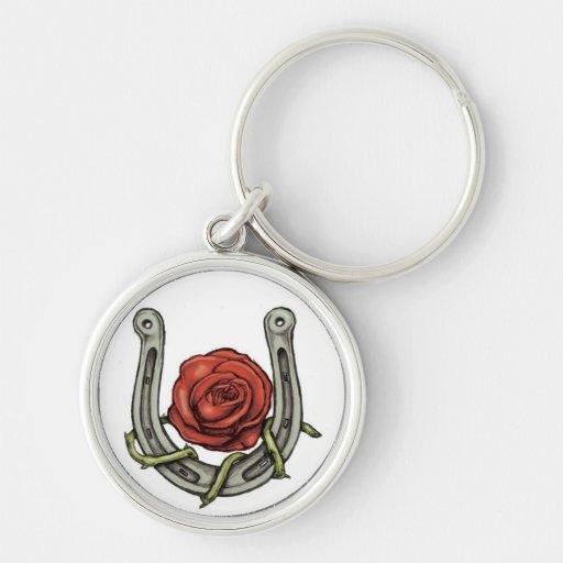 Horse Shoe & Rose Keychain
