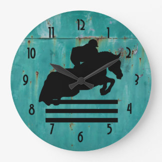 Horse Show Hunter Jumper Silhouette Large Clock