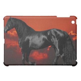 Horse silhouette at sunset iPad mini cover