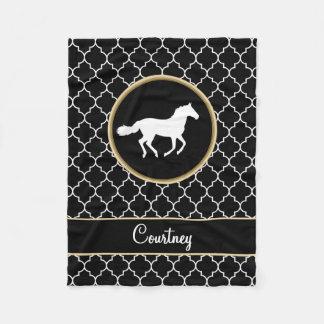 Horse Silhouette Black White Quatrefoil with Name Fleece Blanket