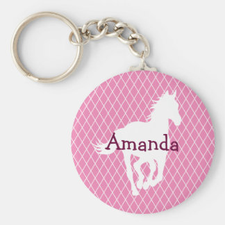 Horse Silhouette Diamond Pattern Custom Key Ring