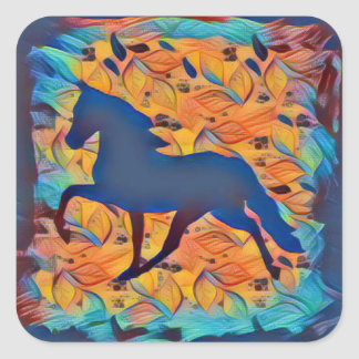 Horse Silhouette Square Sticker