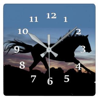 Horse Silhouette Square Wall Clock