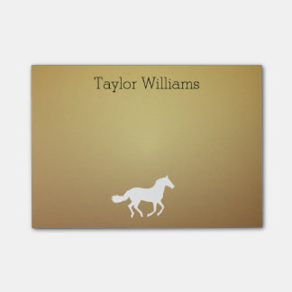 Horse Silhouette Your Name Dark Golden Background Post-it Notes