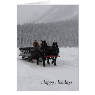 Horse Sleigh at Lake Louise Card