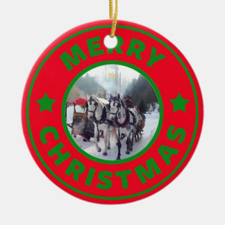 Horse sleigh Christmas tree Ceramic Ornament