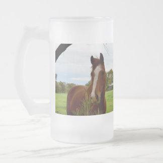 Horse_Smelling_A_Bush,_Big_Frosted_Glass_Mug Frosted Glass Beer Mug