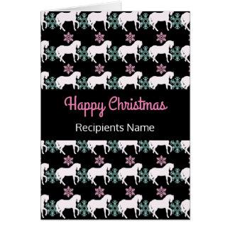 Horse Snowflake Happy Christmas Card