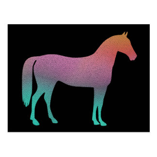 Horse stained glass postcard