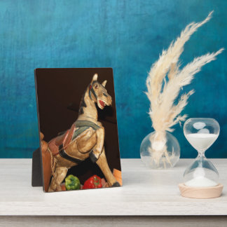 Horse Statue and Mexican Decor on Dark Brown Photo Plaque