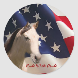 Horse Sticker American Flag
