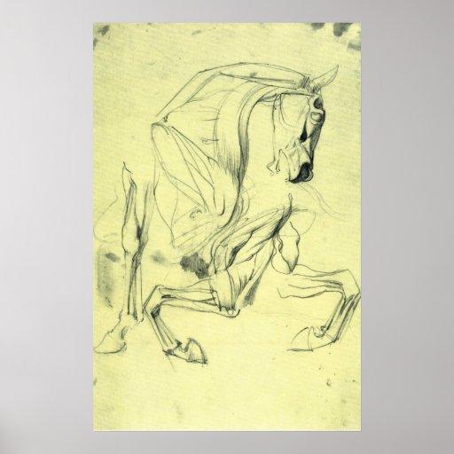 Horse study by Franz von Stuck Print