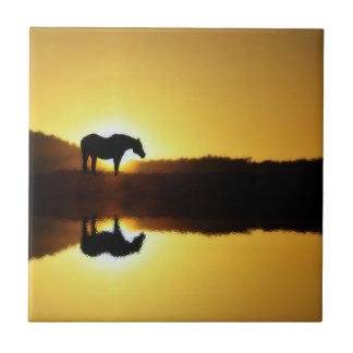 Horse Sunrise Reflection in Water Art Tile