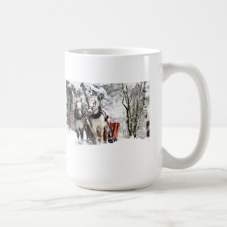 Horse Team Sleigh Ride Through Snowy Woods Coffee Mug