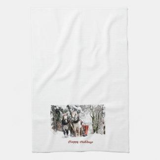 Horse Team Sleigh Ride Through Snowy Woods Tea Towel