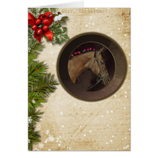 Horse Theme Christmas Card & White Envelope