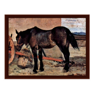 Horse To A Wagon By Fattori Giovanni Postcard