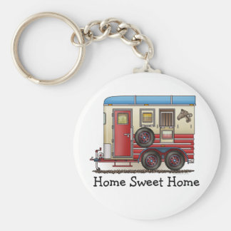 Horse Trailer Camper Basic Round Button Key Ring