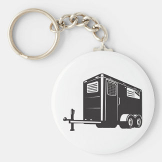 horse trailer viewed from low angle retro style key ring