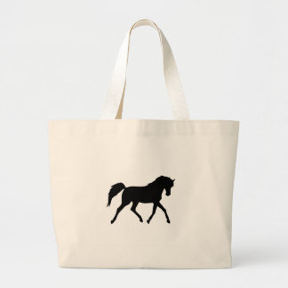 Horse trotting black silhouette tote bag gift idea