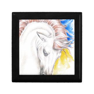 Horse Watercolor Art Small Square Gift Box