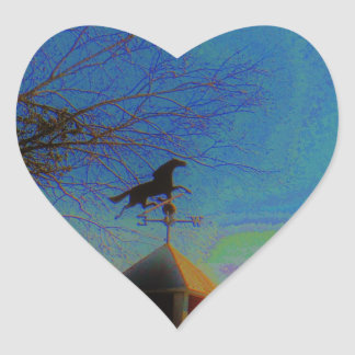 Horse Weather Vane colorful Sky Heart Stickers