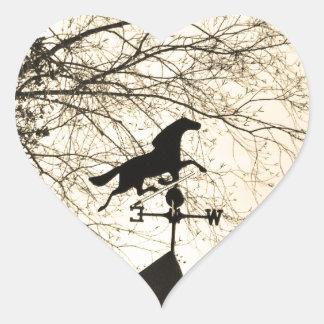 Horse Weather Vane sepia Heart Sticker