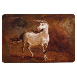 Horse white brown Floor Mat