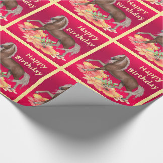 Horse With Flowers Happy Birthday Gift Wrap