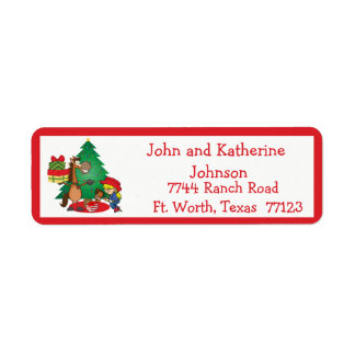 Horse With Gifts and Stick Horse Cowgirl  Label Return Address Label