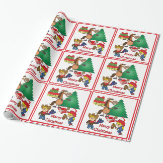 Horse With Gifts And Stick Horse Kids Gift Wrap
