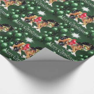 Horse With Green Ornaments  Green Merry Christmas Wrapping Paper