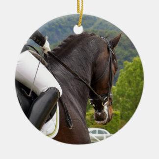 Horse with Raising Round Ceramic Decoration