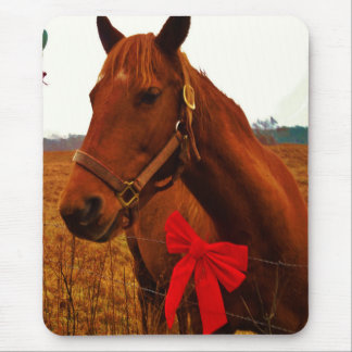 Horse with Red Bow Mouse Pad