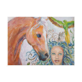 Horse with Woman, Fairy and Parrot on Canvas