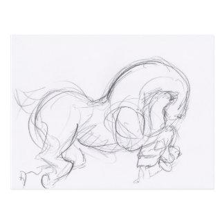 Horse Year - Original Drawing - Postcard