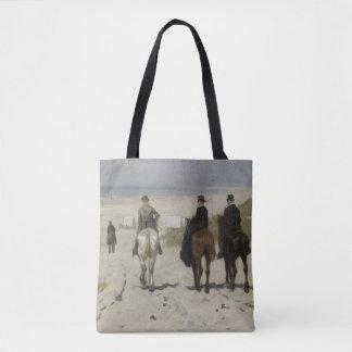 Horseback Ride along the Beach - Fine Art Tote Bag