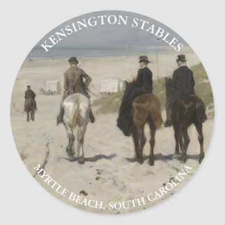 Horseback riding along the beach | Personalized Classic Round Sticker