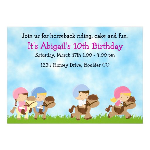 Horseback Riding Birthday Invitation, Girls & Boys