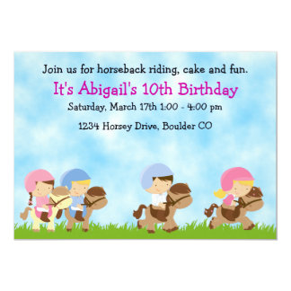 Horseback Riding Birthday Invitation, Girls & Boys 13 Cm X 18 Cm Invitation Card